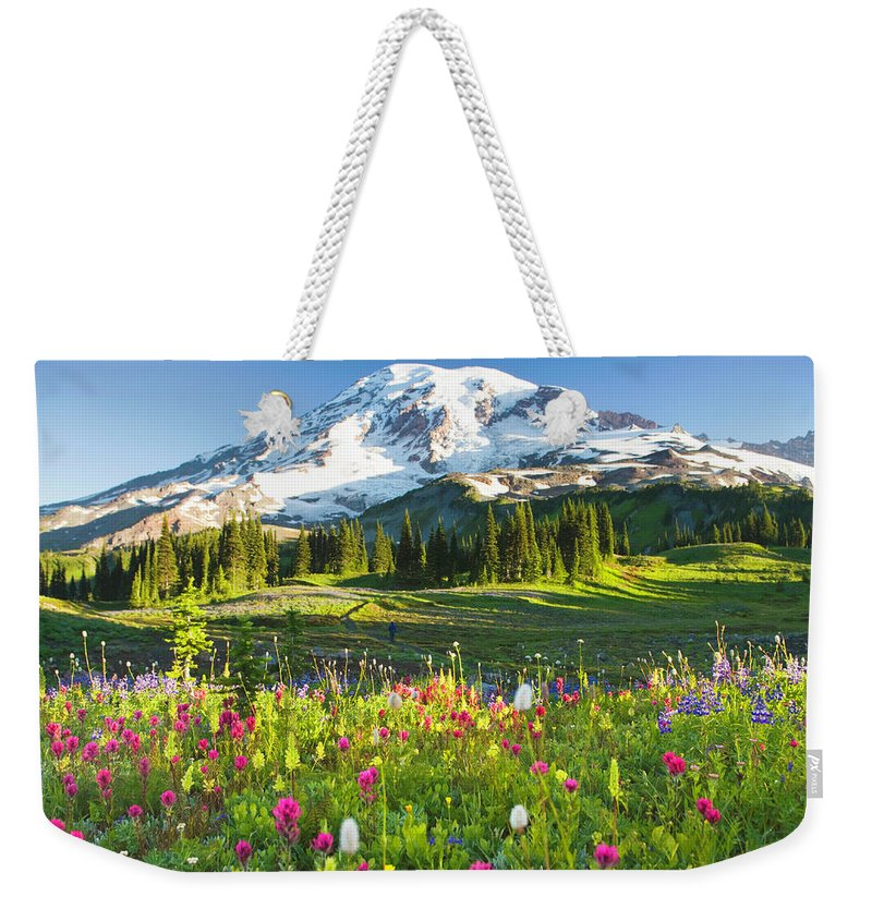 Scenics Weekender Tote Bag featuring the photograph Usa, Washington, Mt. Rainier National by Rene Frederick