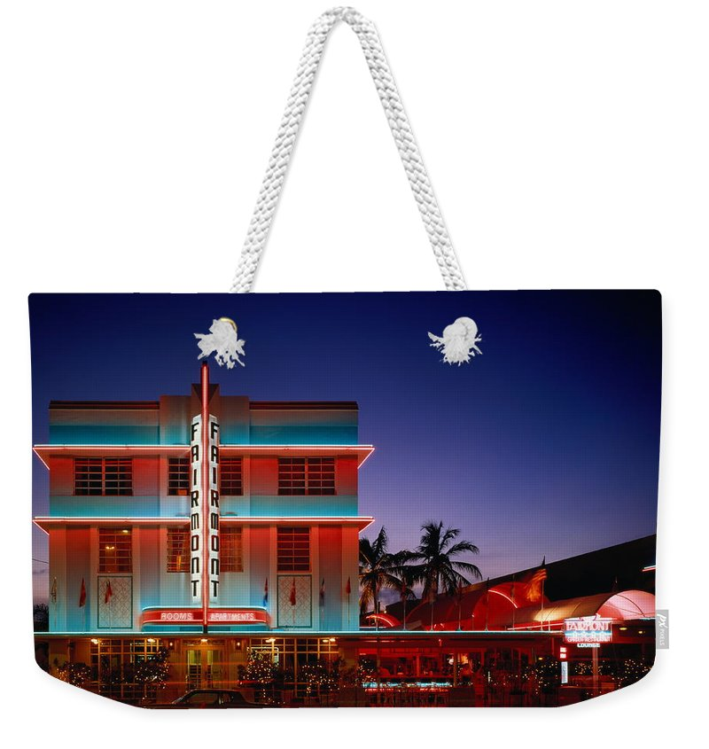 Hotel Weekender Tote Bag featuring the photograph Usa,florida,miami,art Deco Historic by Siegfried Layda