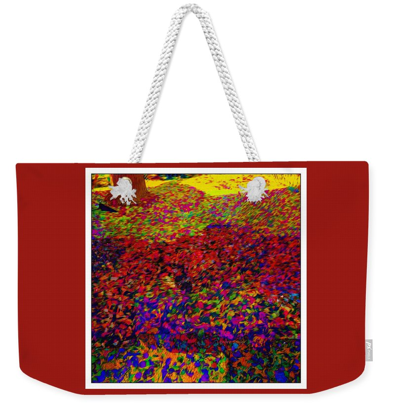 Abstract Weekender Tote Bag featuring the photograph Van Gogh Visits My Back Yard by Lenore Senior