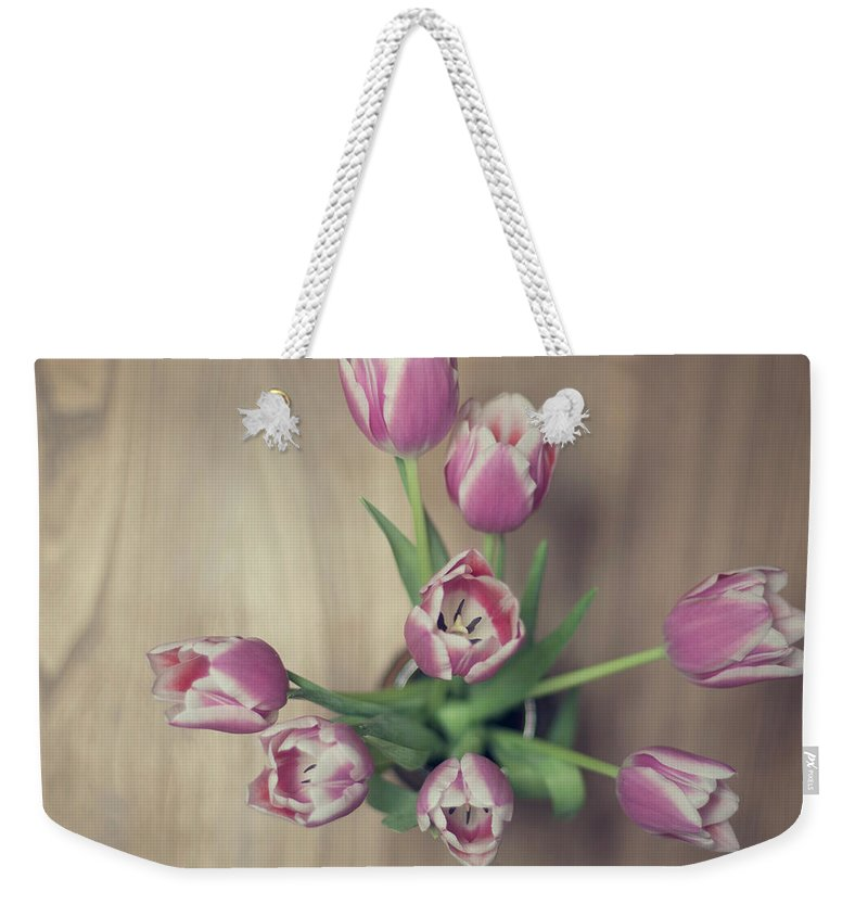Vase Weekender Tote Bag featuring the photograph Vase Full Of Happiness by Paula Daniëlse