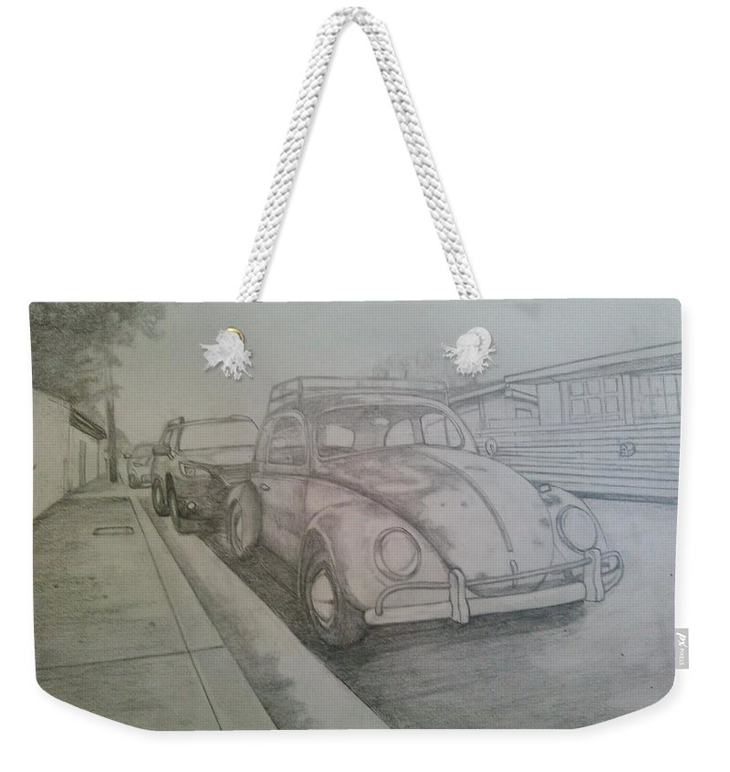 Drawing Of Vw Weekender Tote Bag featuring the drawing Vdub by Andrew Johnson