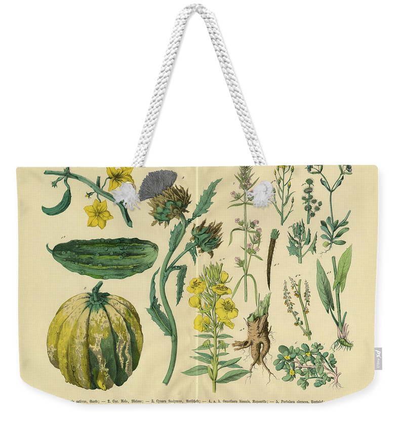 Evening Primrose Weekender Tote Bag featuring the digital art Vegetables And Flowers Of The Garden by Bauhaus1000