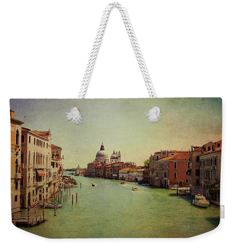View Weekender Tote Bag featuring the photograph Venice, Italy - Grand Canal And The Baroque Domes Of Sai by Luisa Vallon Fumi
