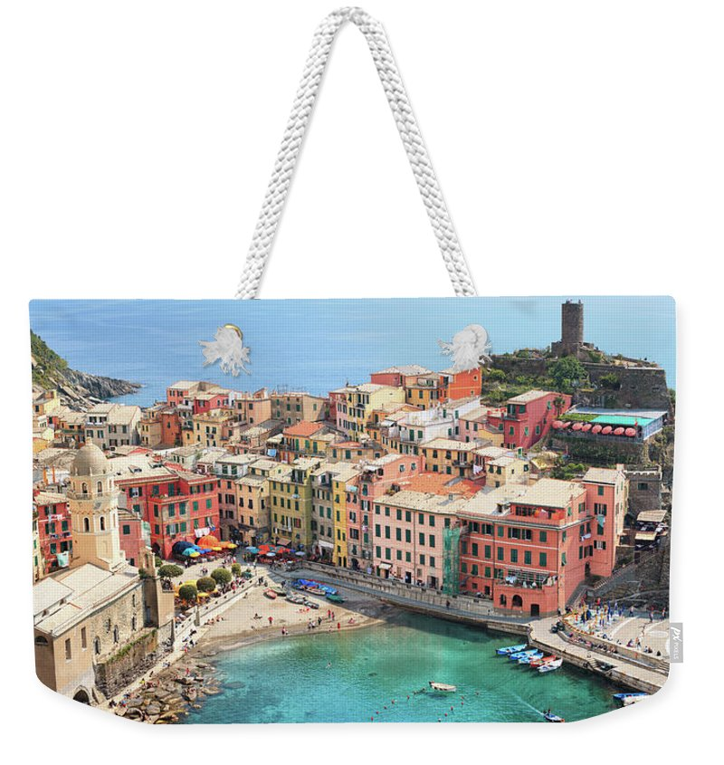 Water's Edge Weekender Tote Bag featuring the photograph Vernazza by Borchee