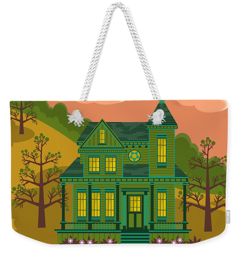 Victorian Style Weekender Tote Bag featuring the digital art Victorian House by Sam Morrison