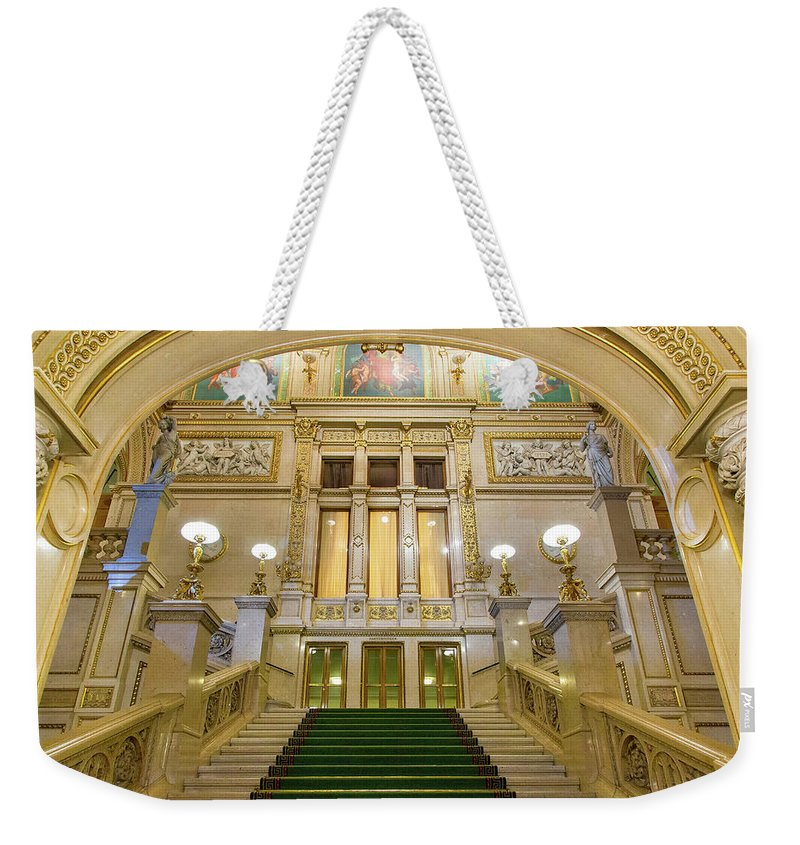 History Weekender Tote Bag featuring the photograph Vienna Opera House, The Main Hall by Sylvain Sonnet