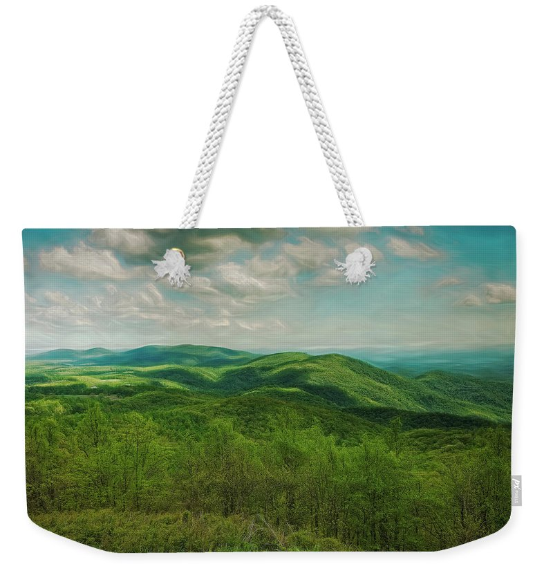 Artistic Weekender Tote Bag featuring the digital art View From Rocky Knob by Phill Doherty