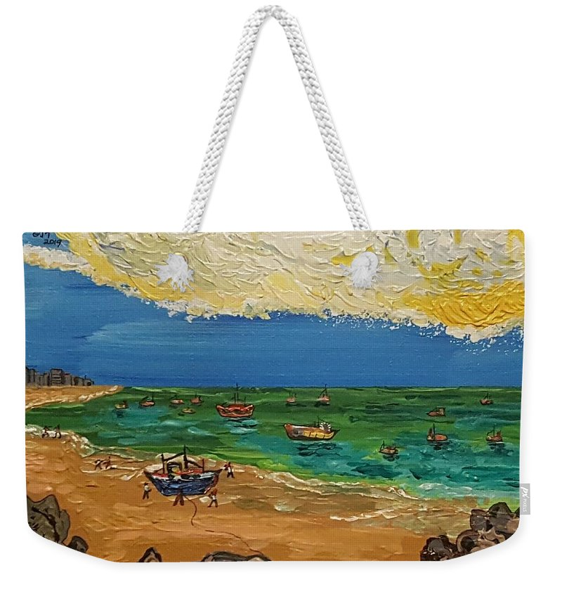 Quintus Curtius Weekender Tote Bag featuring the painting View of Fortaleza by Quintus Curtius