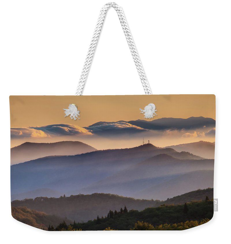 North Carolina Weekender Tote Bag featuring the photograph View Of Frying Pan Mountain by Fine Art Images By Rob Travis Photography