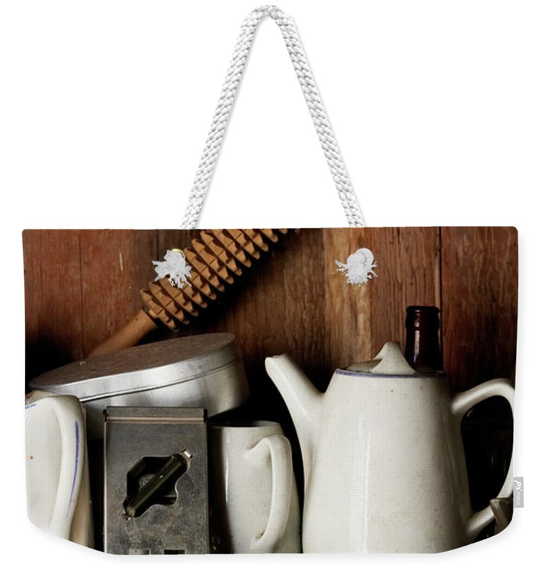 Bohuslan Weekender Tote Bag featuring the photograph View Of Old Crockery In Flea Market by Johner Images