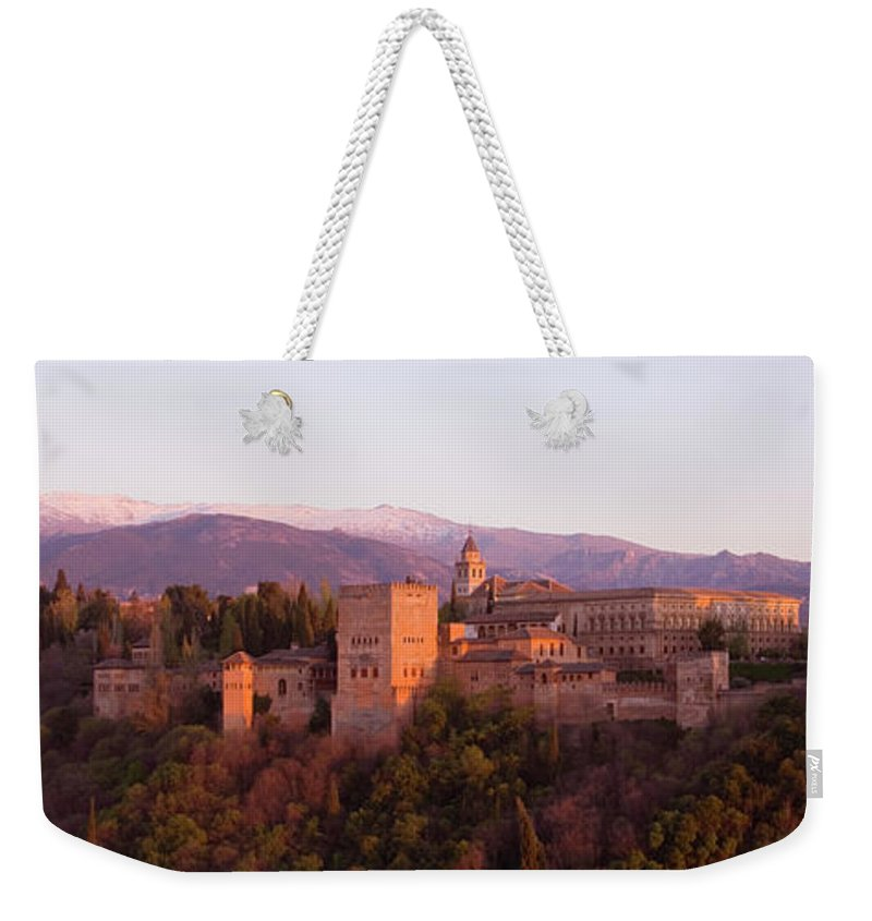 Scenics Weekender Tote Bag featuring the photograph View To The Alhambra At Sunset by David C Tomlinson