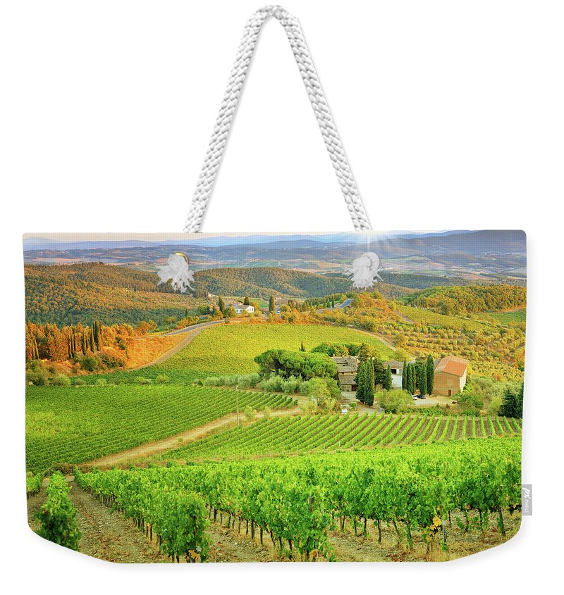 Environmental Conservation Weekender Tote Bag featuring the photograph Vineyard Sunset Landscape From Tuscany by Csondy