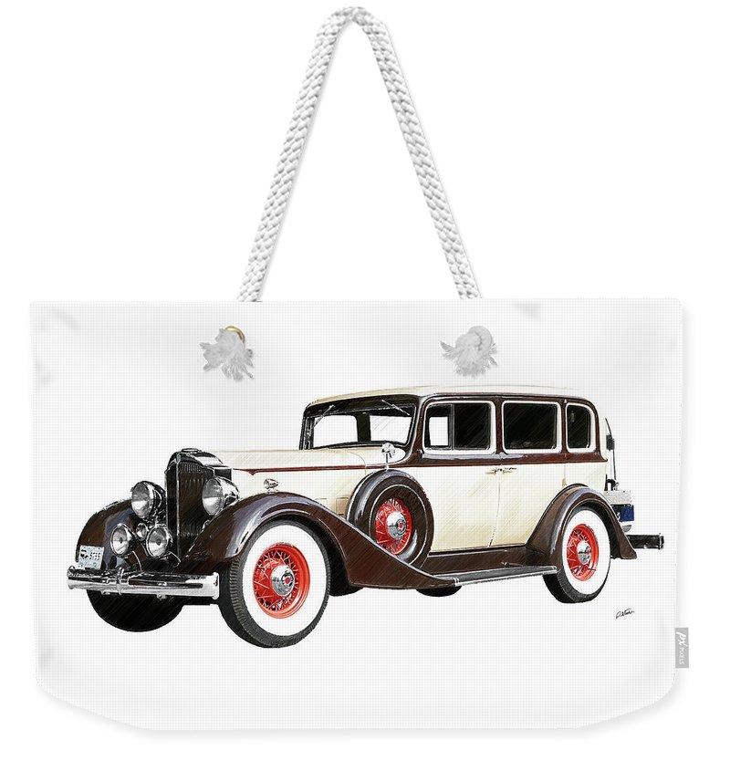 Packard Sedan Weekender Tote Bag featuring the drawing Vintage 1934 Packard Sedan - Dwp2737447 by Dean Wittle