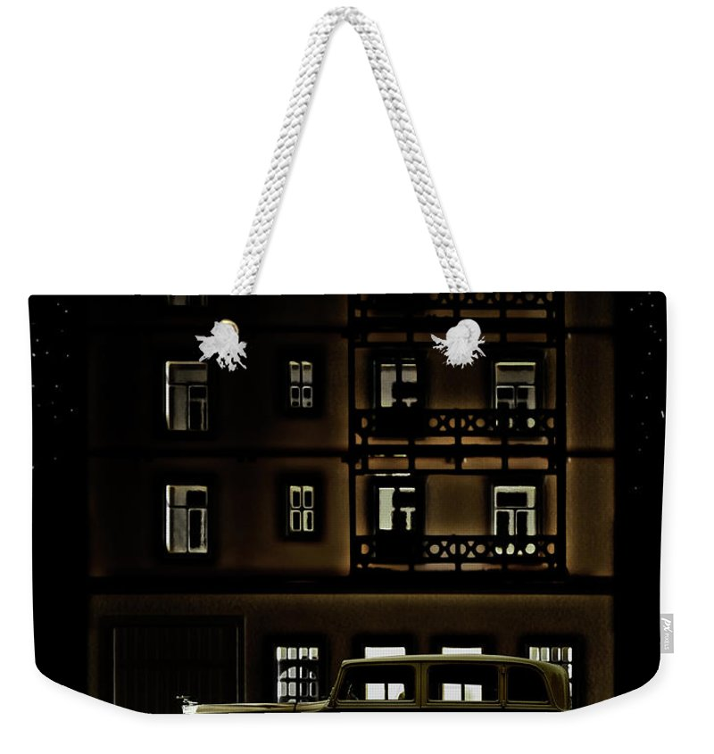 Apartment Weekender Tote Bag featuring the photograph Vintage Car Outside Apartment Block At by Michael Duva