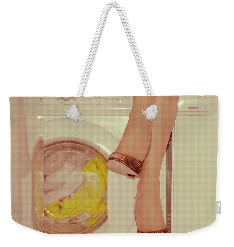 Laundromat Weekender Tote Bag featuring the photograph Vintage Laundry by © Angie Ravelo Photography