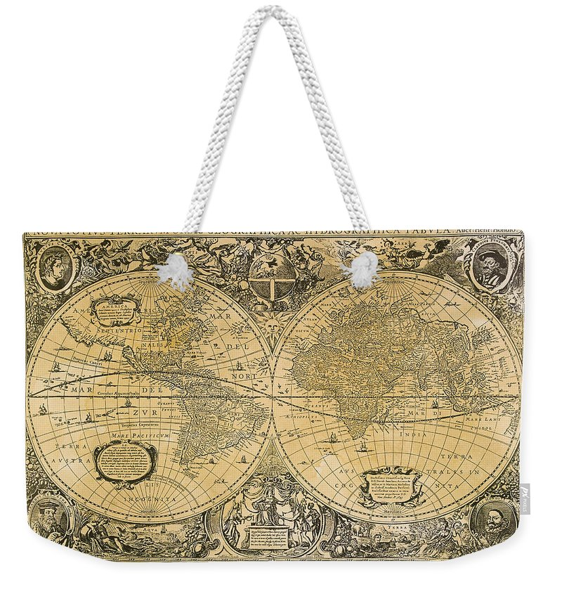 Latitude Weekender Tote Bag featuring the digital art Vintage Map Of The World by Comstock