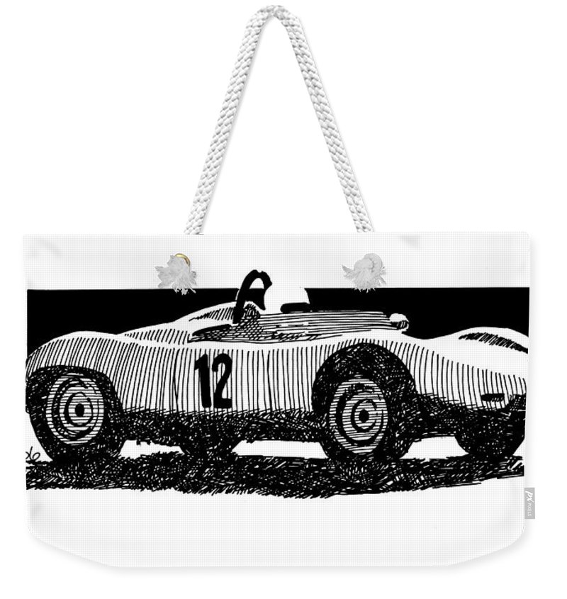 Vintage Racer Weekender Tote Bag featuring the drawing Vintage Racer by Bill Tomsa