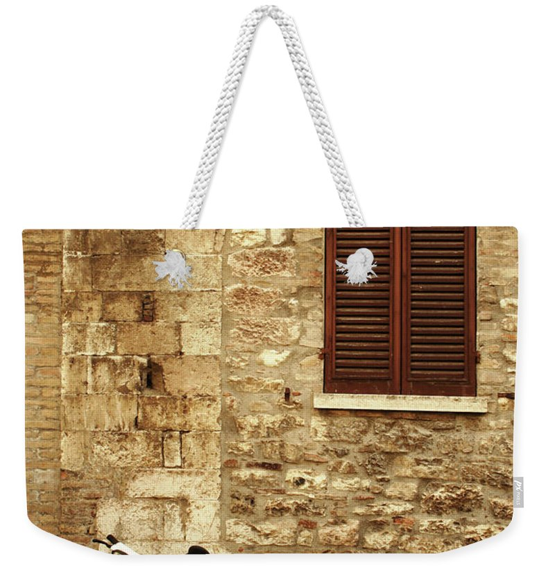 1950-1959 Weekender Tote Bag featuring the photograph Vintage Scene Of A Stone Wall, Wooden by Anzeletti