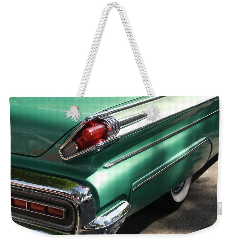 Cool Attitude Weekender Tote Bag featuring the photograph Vintage Tail Fin by Sstop