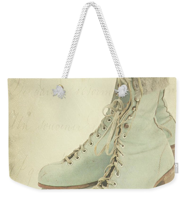 Snow Weekender Tote Bag featuring the photograph Vintage Teal Skates by My Vintage Gardens Photography