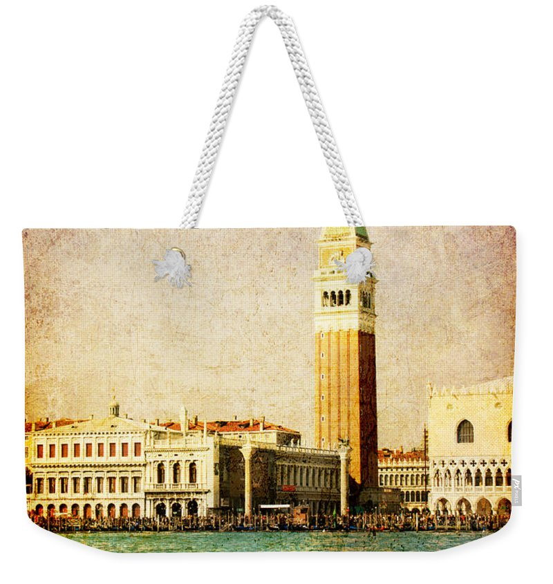 Antique Weekender Tote Bag featuring the digital art Vintage Venice, S.marco Square From The Sea by Luisa Vallon Fumi