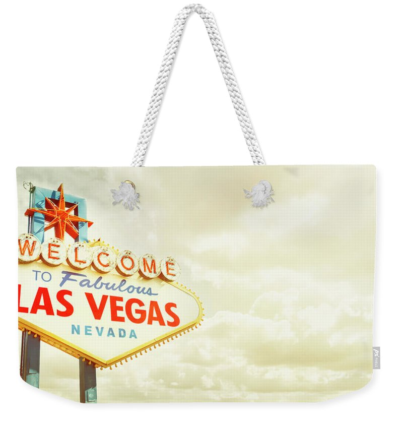 Panoramic Weekender Tote Bag featuring the photograph Vintage Welcome To Fabulous Las Vegas by Powerofforever