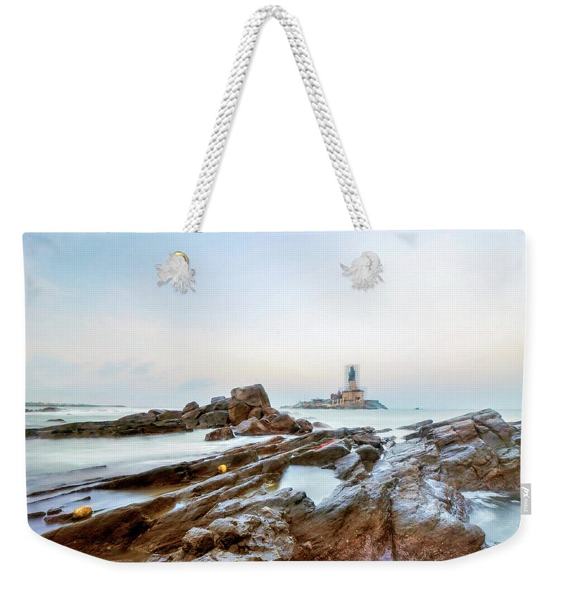 Statue Weekender Tote Bag featuring the photograph Vivekanandar Rock & Thiruvalluvar by Yesmk Photography