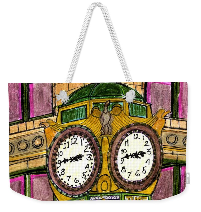 Paul Meinerth Weekender Tote Bag featuring the drawing Wacker Place Chicago by Paul Meinerth