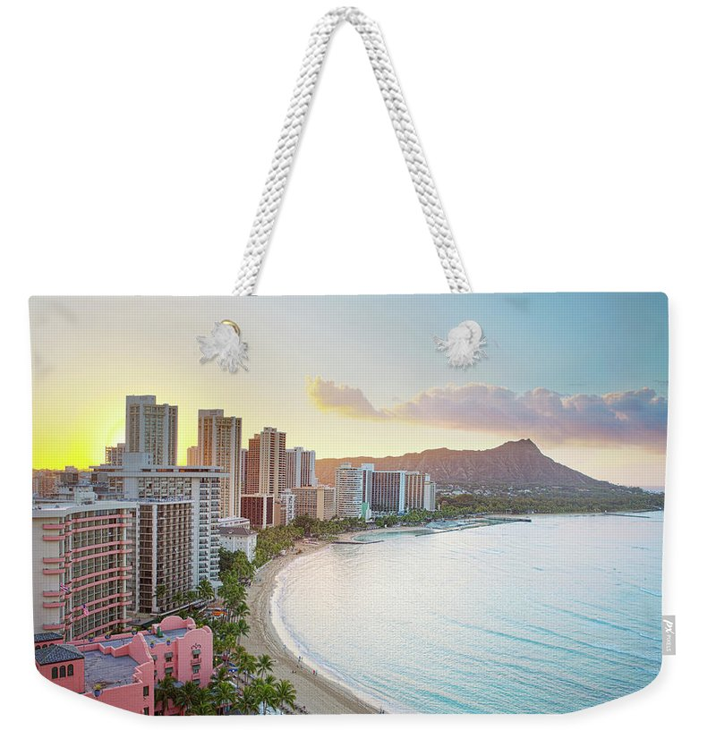Scenics Weekender Tote Bag featuring the photograph Waikiki Beach At Sunrise by M Swiet Productions
