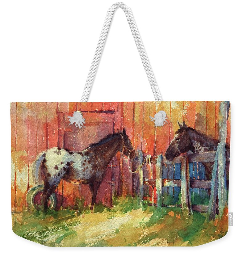 Horses Weekender Tote Bag featuring the painting Waiting by Steve Henderson