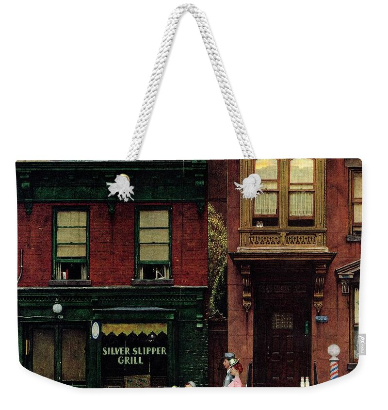 Churches Weekender Tote Bag featuring the drawing Walking To Church by Norman Rockwell
