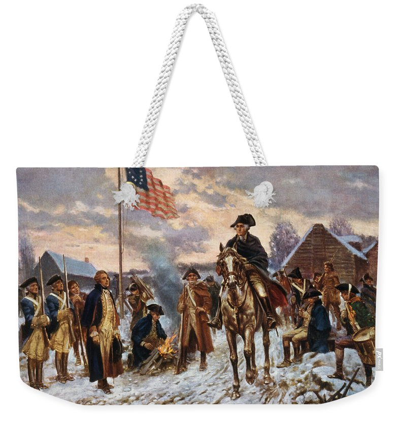 George Washington Weekender Tote Bag featuring the painting Washington at Valley Forge by War Is Hell Store