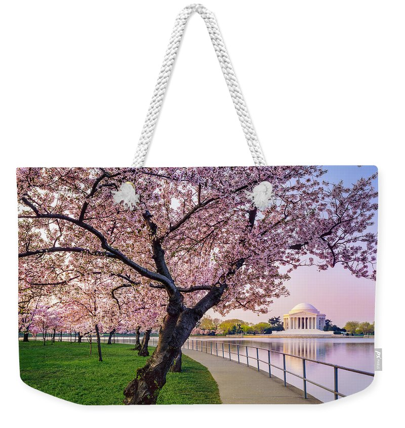 Tidal Basin Weekender Tote Bag featuring the photograph Washington Dc Cherry Trees, Footpath by Dszc