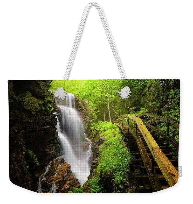Steps Weekender Tote Bag featuring the photograph Water Falls In The Flume by Noppawat Tom Charoensinphon
