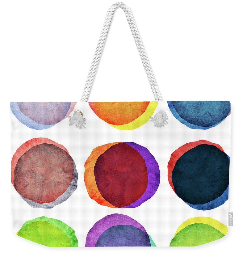 Watercolor Painting Weekender Tote Bag featuring the photograph Watercolor Painted Circles Various by Momentousphotovideo