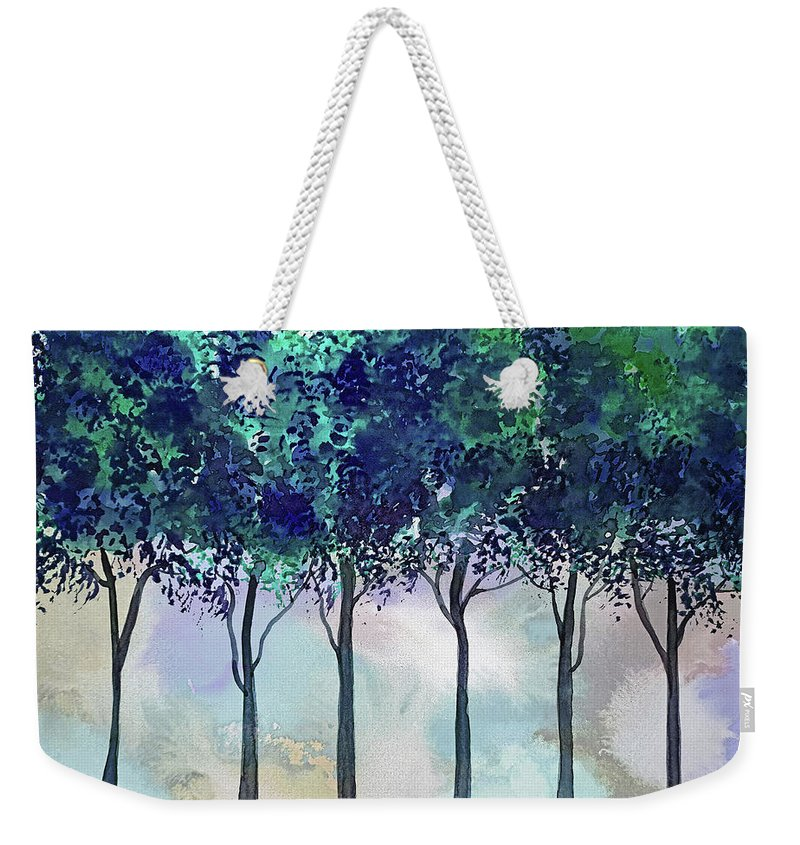 Ruth Palmer Fine Art Weekender Tote Bag featuring the painting Watercolor Treeline by Ruth Palmer