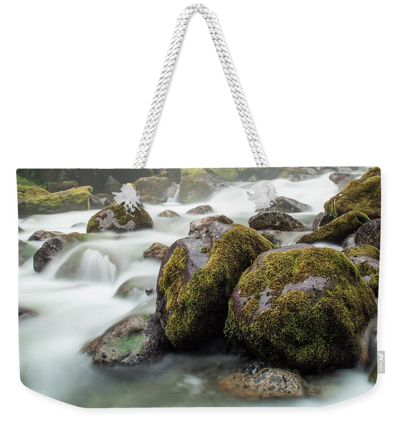 Tranquility Weekender Tote Bag featuring the photograph Waterfall, Bc, Canada by Paul Souders
