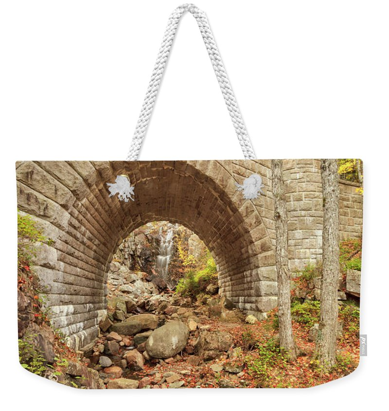 Scenics Weekender Tote Bag featuring the photograph Waterfall Bridge, Autumn, Acadia by Picturelake