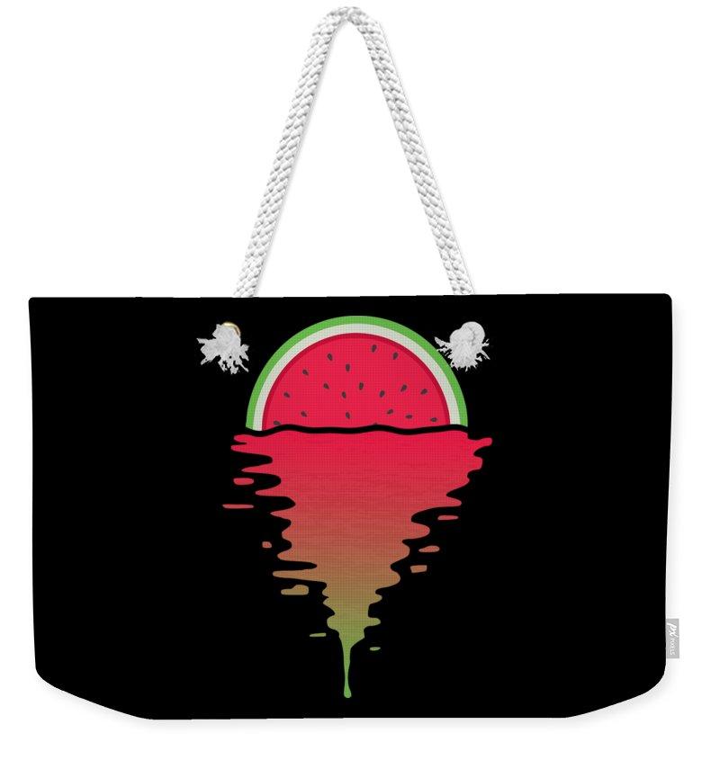Watermelon Weekender Tote Bag featuring the digital art Watermelon Sunset by Filip Schpindel
