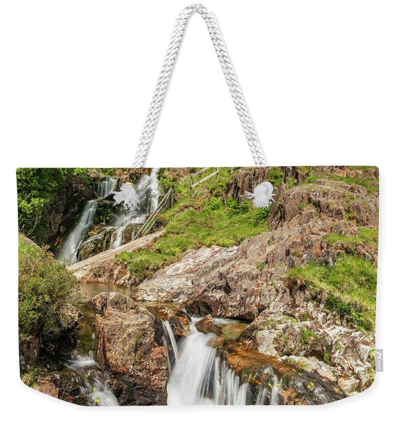 Watkin Path Weekender Tote Bag featuring the photograph Watkin Path Waterfall Wales by Adrian Evans