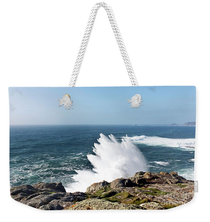Wave Weekender Tote Bag featuring the photograph Wave Like Quartz by Terri Waters