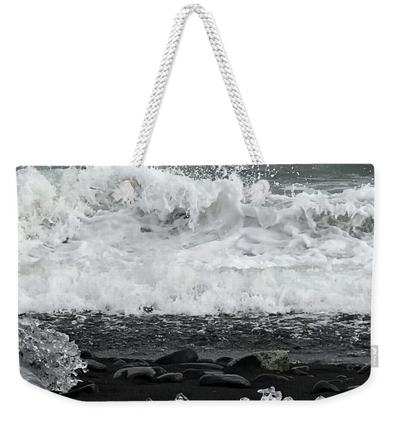 Iceland Weekender Tote Bag featuring the photograph Waves And Ice by Norman Burnham