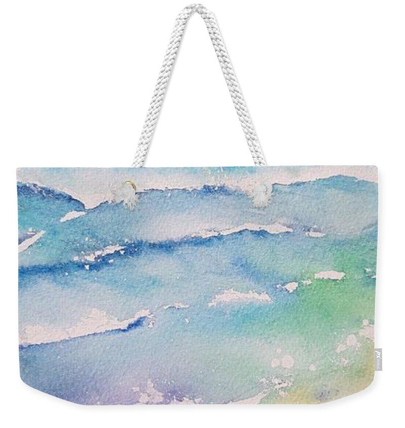 Watercolor Weekender Tote Bag featuring the painting Waves by Paola Baroni