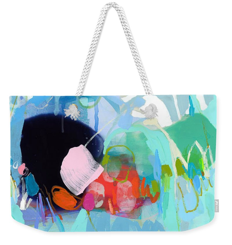 Abstract Weekender Tote Bag featuring the painting West Coast Wanderlust by Claire Desjardins