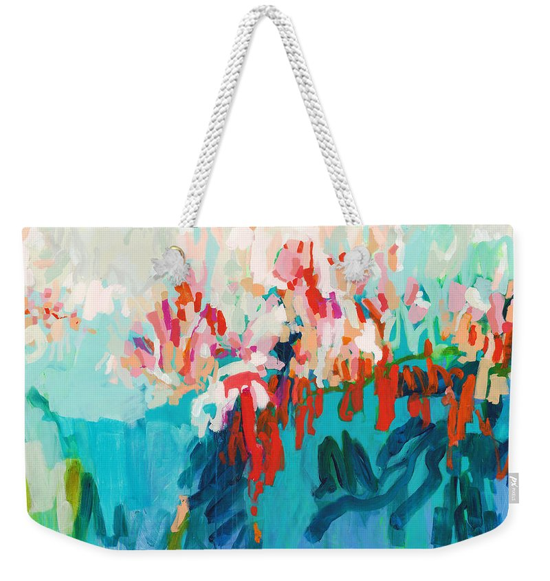Abstract Weekender Tote Bag featuring the painting What Are Those Birds Saying? by Claire Desjardins