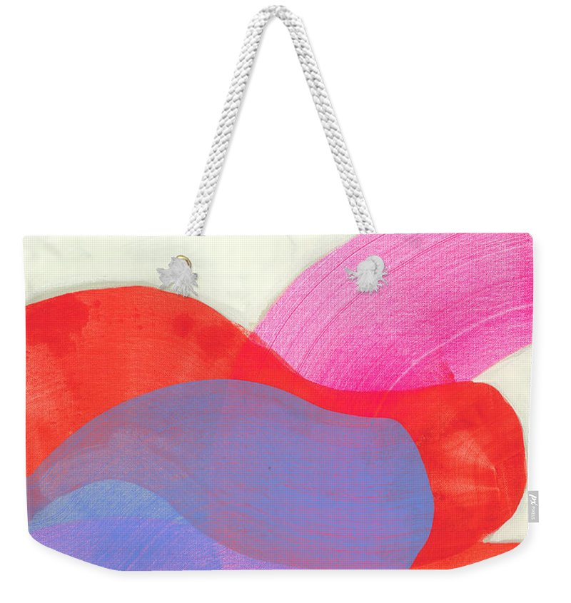 Abstract Weekender Tote Bag featuring the painting What To Say? by Claire Desjardins