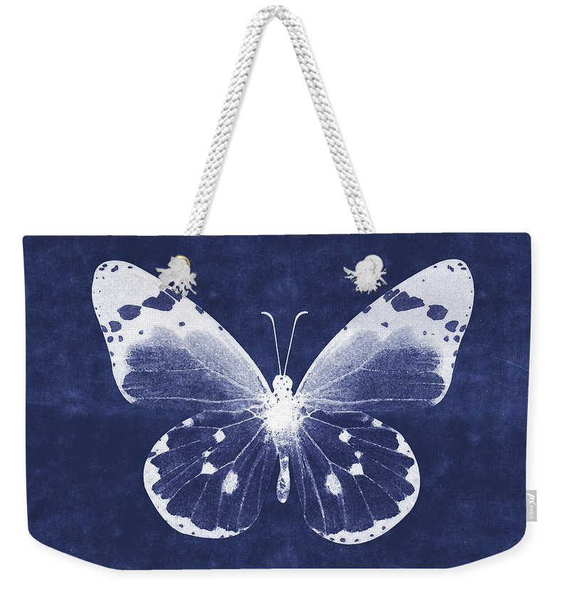 Butterfly Weekender Tote Bag featuring the mixed media White and Indigo Butterfly 1- Art by Linda Woods by Linda Woods