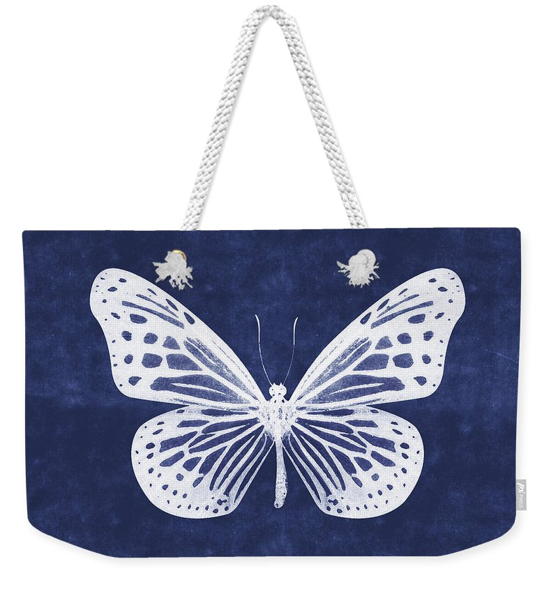 Butterfly Weekender Tote Bag featuring the mixed media White and Indigo Butterfly- Art by Linda Woods by Linda Woods