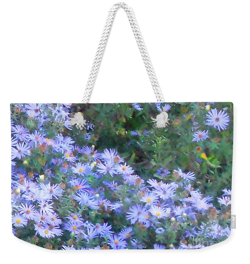 Blue Flowers Weekender Tote Bag featuring the photograph White Blue Cluster Square by Felipe Adan Lerma