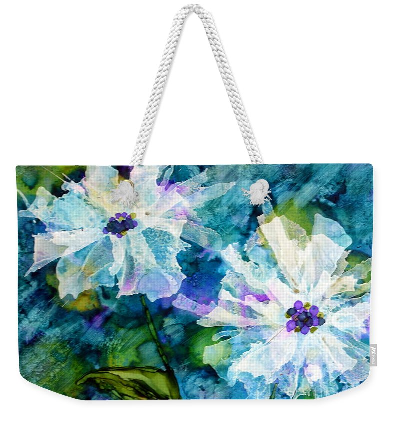 Floral Weekender Tote Bag featuring the painting White On Blue by Beth Kluth